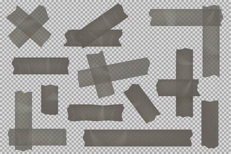 Adhesive tape set isolated on transparent background
