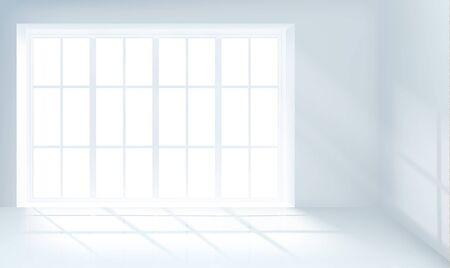 glass window sliding on white wall interior house Illusztráció
