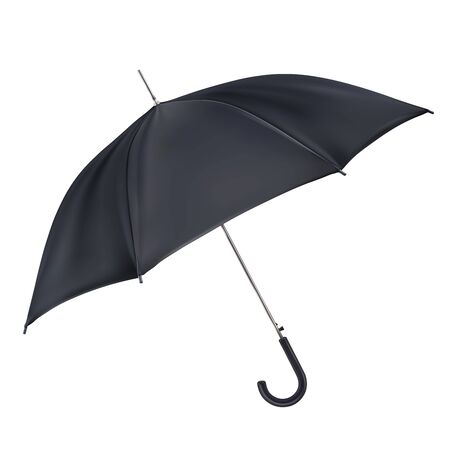 Black open classic umbrella in side view. Mockup, template for presentation. Realistic vector illustration isolated on white background. Ilustrace