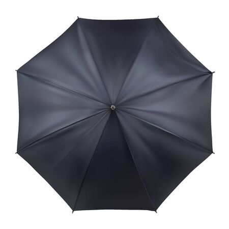 Black open umbrella in top view. Mockup, template for presentation. Realistic vector illustration isolated on white background.