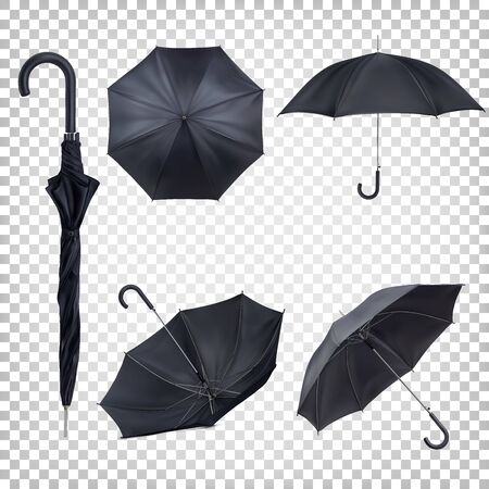 Set of black classic rain umbrellas in different views. Mockup, template for presentation. Realistic vector illustration isolated on transparent background.
