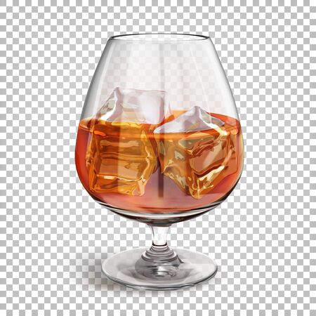 Transparent shiny glass on a leg with cognac with ice cubes. Vector 3d realistic illustration isolated on transparent background.