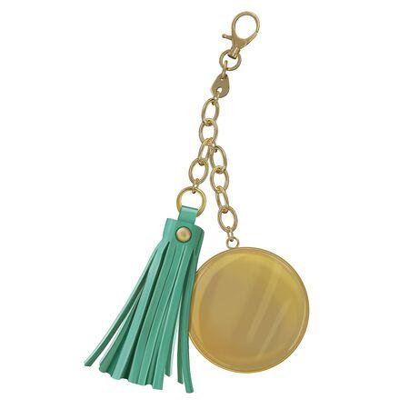 Bibelot avec médaille ronde en métal et pompon en cuir sur chaîne et carabine. Accessoires pour sacs et portefeuilles. Vector illustration réaliste 3d isolé sur fond blanc.