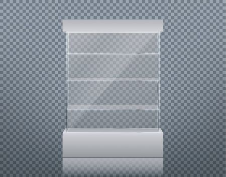 Vector realistic glass square showcase. Empty glass box on a white podium isolated on transparent background