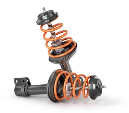 Shock absorber isolated on a white background. 3d illustration Imagens