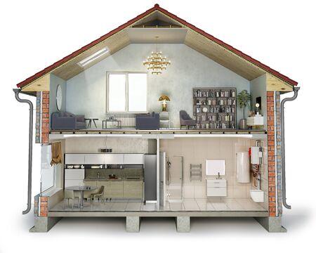 House cross section, view on bathroom, kitchen and living room, 3d illustration Reklamní fotografie