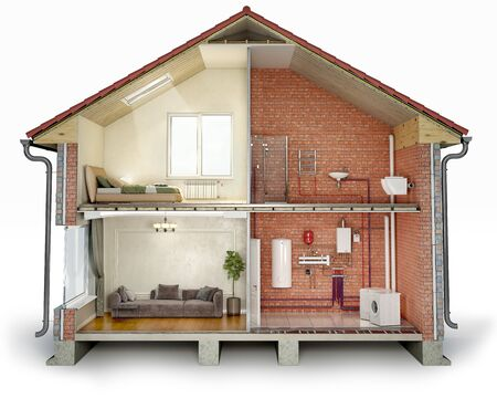Cross section of house, divided into renovated part and unfinished part with pipes, 3d illustration