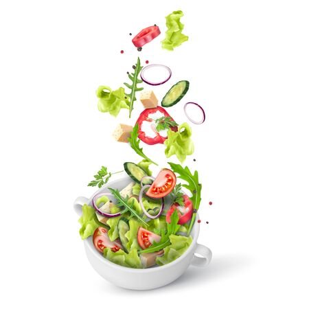 Fresh summer salad of greens and vegetables sprinkled in a deep plate.