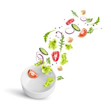 Ensalada de verduras frescas de verano cayendo en un plato hondo de porcelana blanca. Ilustración de vector