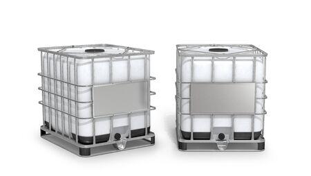 Envase. Tanque de agua blanca aislado sobre fondo blanco. Ilustración 3d