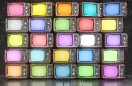 Pared de televisores antiguos con pantalla de diferentes colores. Ilustración 3d