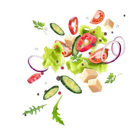 A splash of fresh vegetable salad. Vegetarianism, vitamins, healthy nutrition, diet. Vector 3d realistic dynamic composition isolated on white background. Ilustração