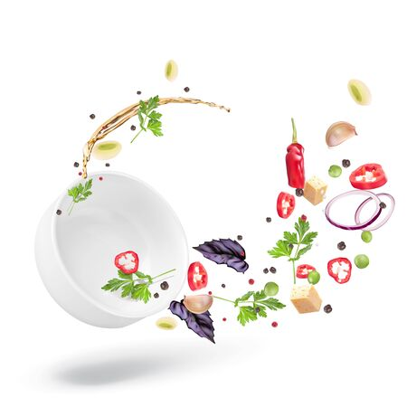 Dynamic composition of a deep white plate and salad dressed with vegetable oil. Healthy nutrition, vegetarianism. Vector 3d realistic illustration isolated on white background.