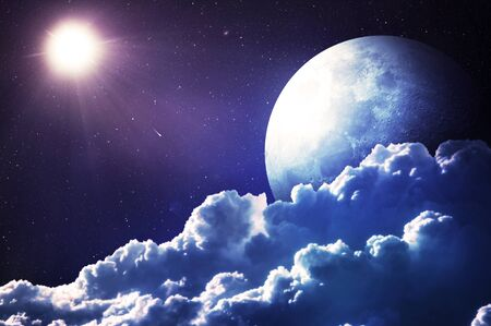Night sky with clouds and shiny moon