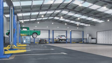 Garage interior with car lift. 3d illustration