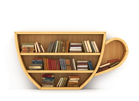 Concept of training. Wooden bookshelf in form of cup of coffee. Science about human. Psychology. Relax. A human have more knowledge.