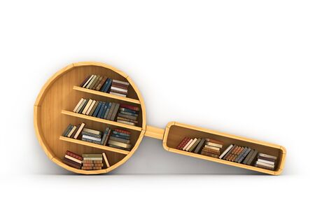Concept of training. Wooden bookshelf in form of magnifier. Concept of search a knowledge. Psychology. A human have more knowledge. Stock Photo