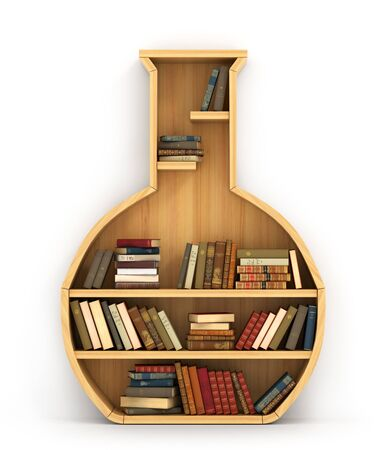 Concept of training. Wooden bookshelf in form of test-tube. The library of chemistry. Chemistry. A human have more knowledge. Stock Photo