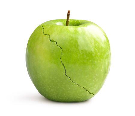 Green crack apple on white background