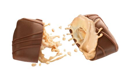 Chocolate candy with filling on a white