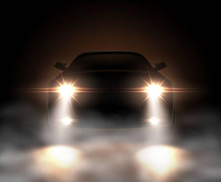 Realistic car lights in fog