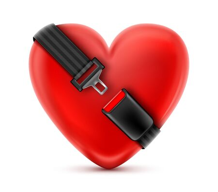 Seat Belt around the red heart. Safety and insurance concept.