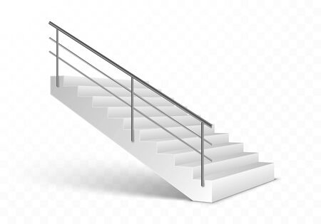 Stairs and stainless steel railing. Realistic vector illustration isolated on transparent background. Illusztráció