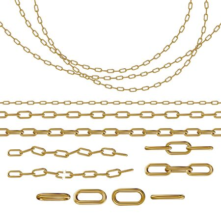 Collection of metal chains color gold