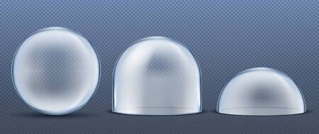 Glass Dome Set Vector.