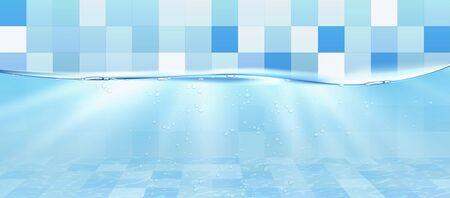 Underwater in swimming pool. Vector illustration Ilustração