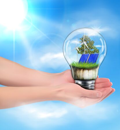 Green energy concept. Hands holding a lamp with a solar battery. Vector illustration. Ilustracja