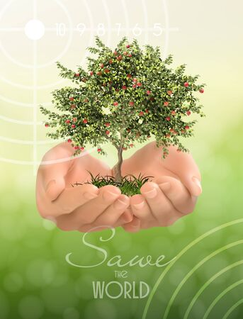 Hands protecting of green tree on green background, Ecology and Environment concept.  Vector illustration.