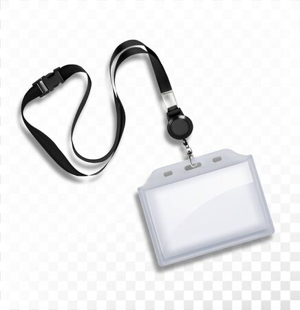 Plastic badge with a cord for cards. Vector illustration.