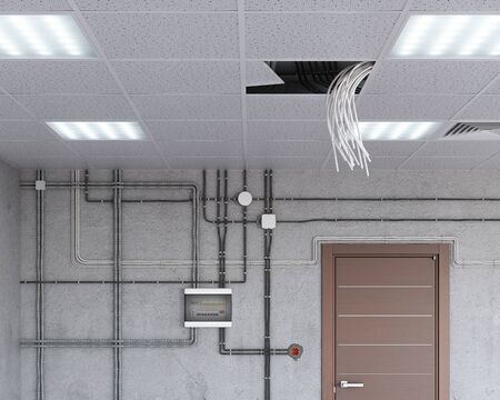 Electrical wiring hang down from ceiling, 3d illustration