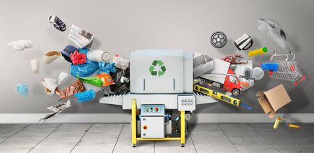 Recyclable concept. Garbage and waste are recycled into usual products. Eco concept.