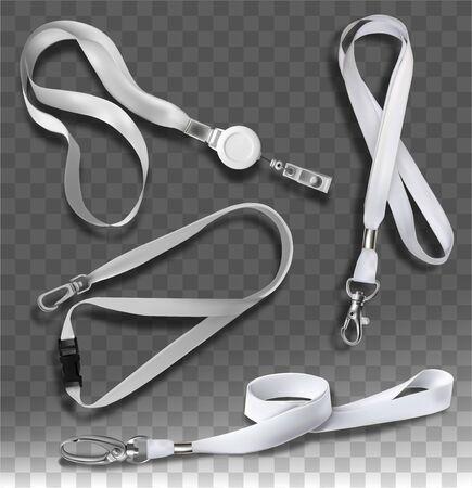 Accessories for badges with white cords. Vector illustration. Ilustración de vector