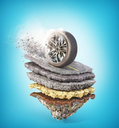 Wheel on the road. See layers on the piece of ground. 3d illustration