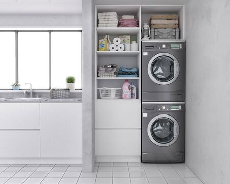 Laundry room , washing machine at closet,white wall, shelving,clothes with kitchen . 3d illustration
