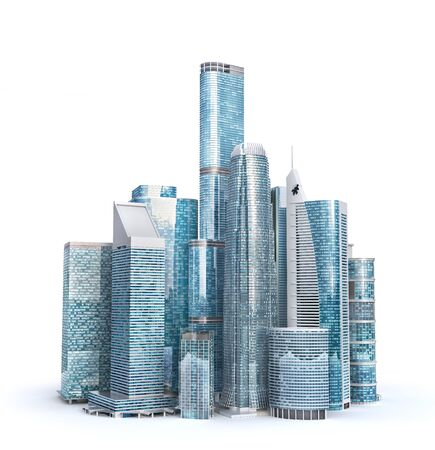 Skyscrapers. City skyline isolated on a white. 3d illustration
