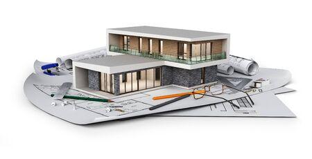 Concept de chalet moderne situé sur des plans, illustration 3d