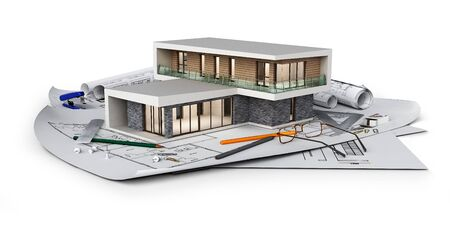 Concetto di cottage moderno situato su progetti, illustrazione 3d