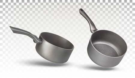 Set of two stewpan for cooking isolated on a transparent background. Kitchen utensils, dishes. Vector 3d realistic pan.  イラスト・ベクター素材