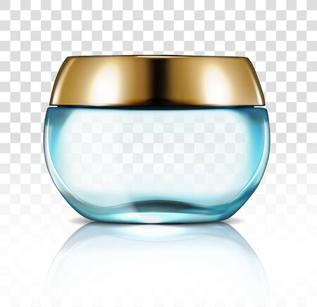 Round bottle for cosmetics on a transparent background. Vector illustration.