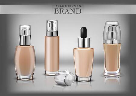 Set transparent jars for cosmetics. Vector illustration. Vektorgrafik