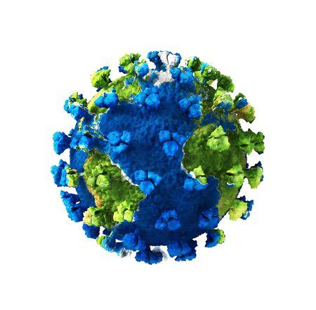 Global pandemic. Coronavirus as planet on a white
