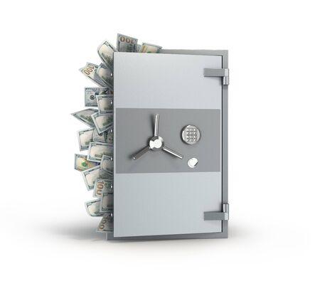 Metal safe with open door and dollars bills Zdjęcie Seryjne
