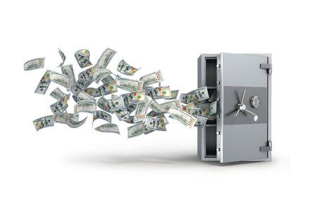 metal safe with open door and falling dollars bills