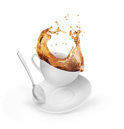 Splash of cafe in a cup on a white