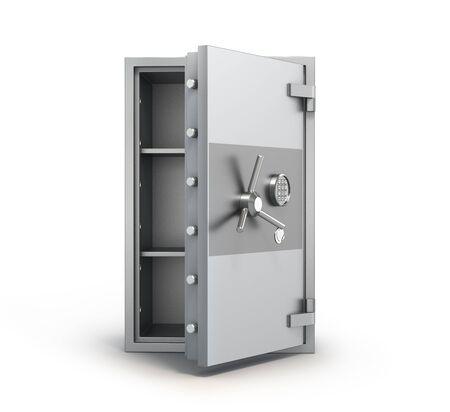 Money metal safe with open door