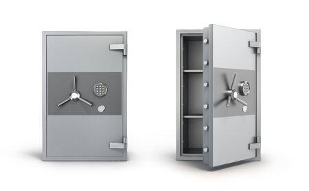 Money metal safe set  with close  and open door Zdjęcie Seryjne
